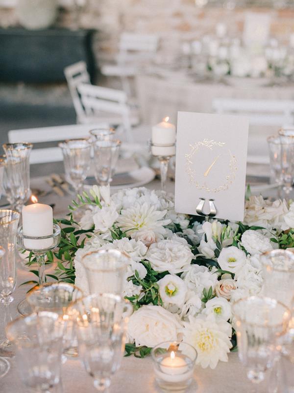 White wedding florals at Domaine de Patras